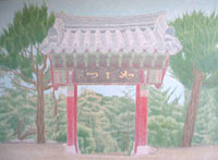 Korean Temple - acrilico su tela / acrylic on canvas, cm 100x140  (2009)