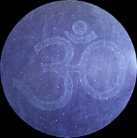 Night sky OM - acrilico e zircone su legno/ acrylic and zircon on wood, diametro/diameter 120  (2012)
