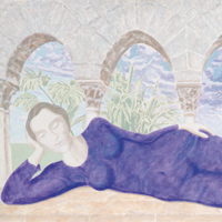 Sleeping Buddha - acrilico su tela / acrylic on canvas, cm 100x180  (2002)